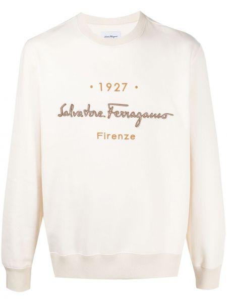 Biała bluza długa z długimi rękawami bawełniana Salvatore Ferragamo