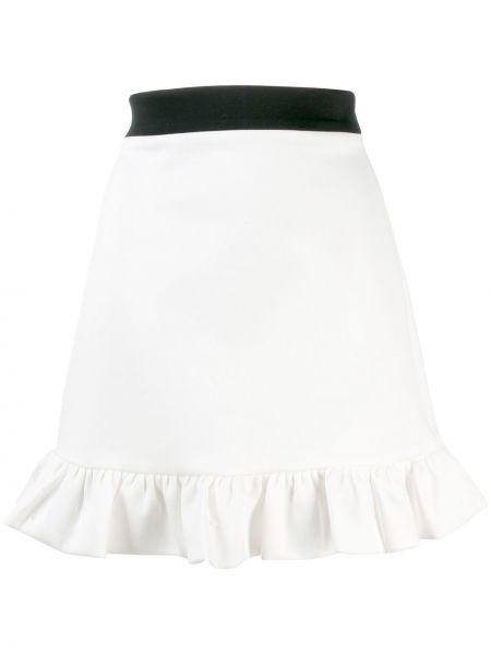 Белая юбка на молнии с оборками с поясом Miu Miu
