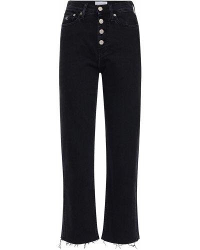 Джинсы с высокой посадкой на пуговицах с аппликацией Calvin Klein Jeans