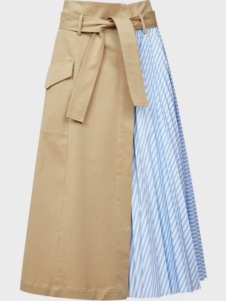 Хлопковая бежевая юбка с поясом Sfizio