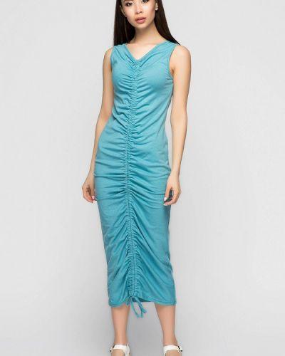 Повседневное платье весеннее бирюзовый A-dress