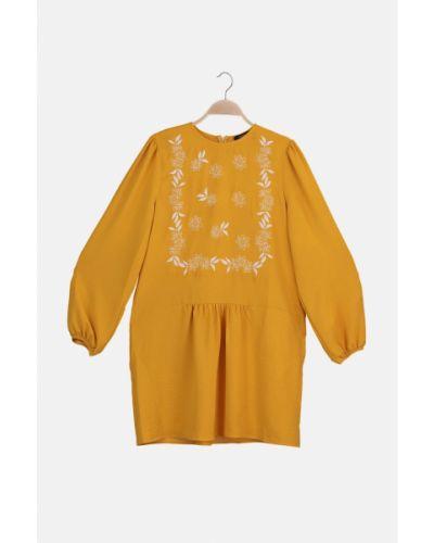 Pomarańczowa tunika bawełniana z haftem Trendyol