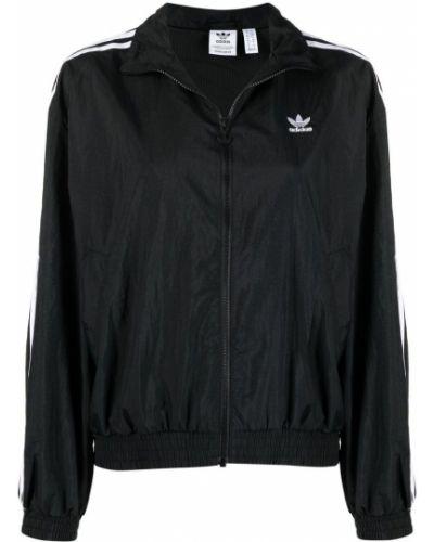 Bawełna czarny długa kurtka z paskami Adidas