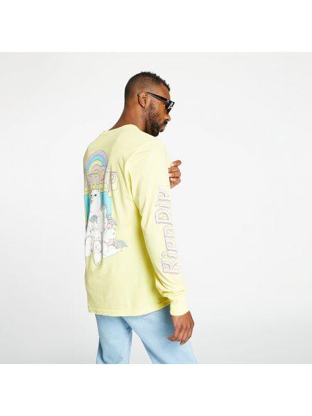 Z rękawami żółty t-shirt z długimi rękawami Ripndip