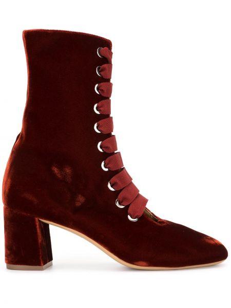 Бархатные красные ботинки на каблуке на каблуке на шнуровке Le Monde Beryl