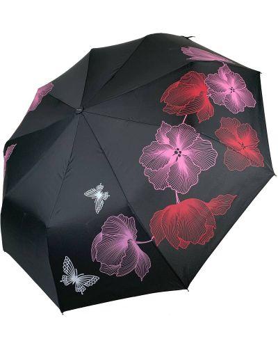 Прямой черный складной зонт Flagman