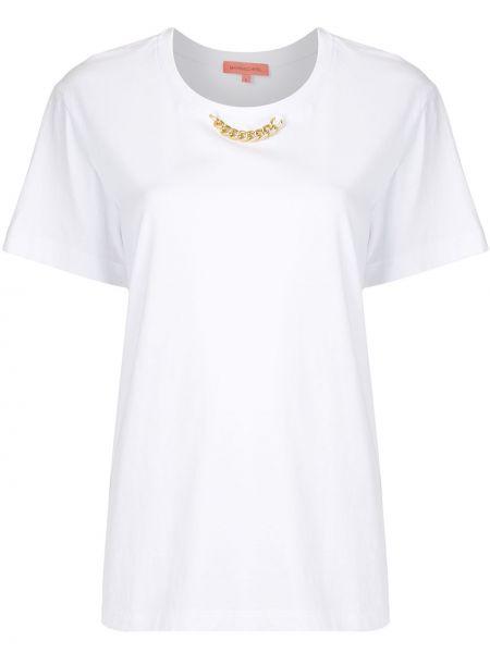 Хлопковая белая прямая футболка с круглым вырезом Manning Cartell