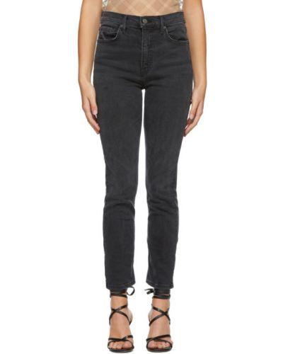 Кожаные зауженные черные джинсы-скинни стрейч Grlfrnd