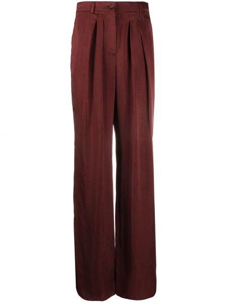 Satynowe spodnie z wysokim stanem z paskiem Rochas