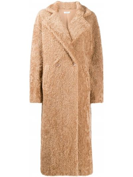 Коричневое длинное пальто двубортное из овчины P.a.r.o.s.h.