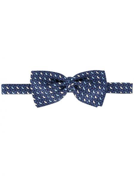 Шелковый синий галстук-бабочка с бабочкой на крючках Ermenegildo Zegna