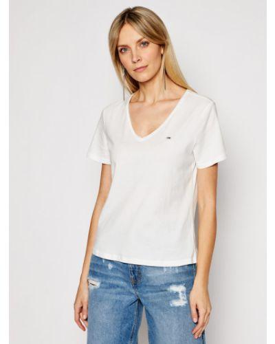 Biały koszula jeansowa z dekoltem w serek Tommy Jeans