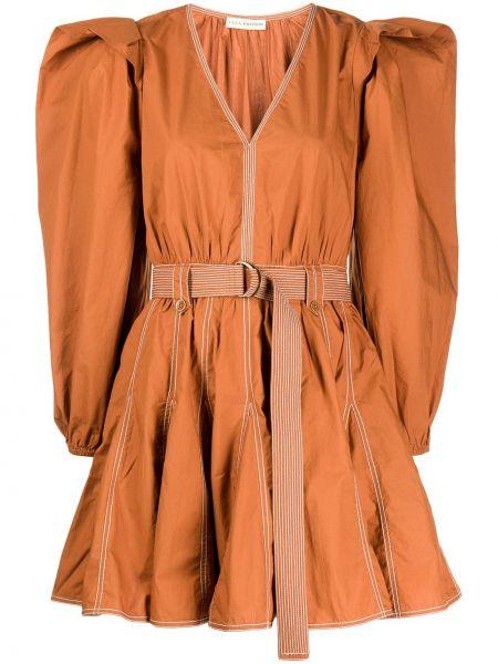 Pomarańczowa sukienka z dekoltem w serek Ulla Johnson
