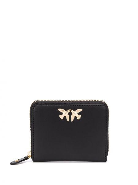 Кожаный кошелек черный золотой Pinko