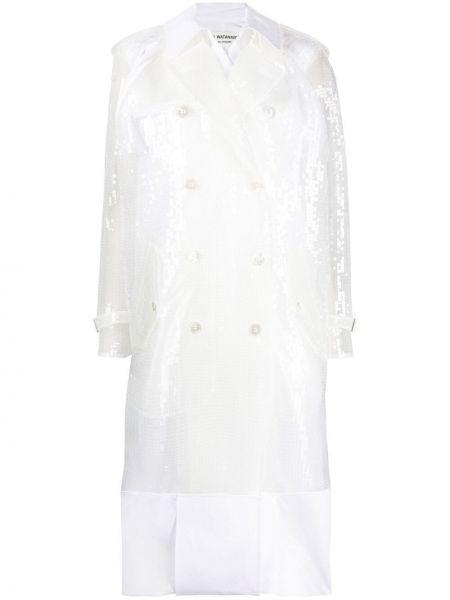 Biały klasyczny płaszcz dwurzędowy bawełniany Junya Watanabe