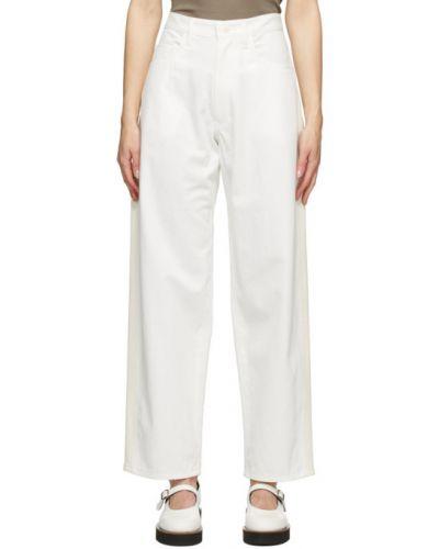 Белые широкие джинсы с карманами свободного кроя Y`s