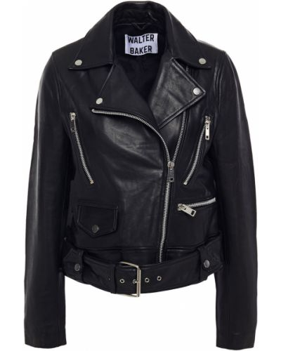 Черная кожаная куртка с подкладкой Walter Baker