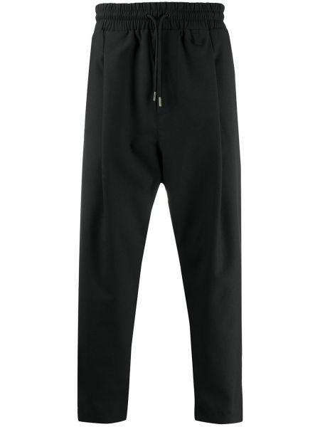 Czarne spodnie z wysokim stanem wełniane Drole De Monsieur