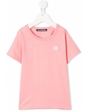 Różowy t-shirt bawełniany krótki rękaw Acne Studios Kids