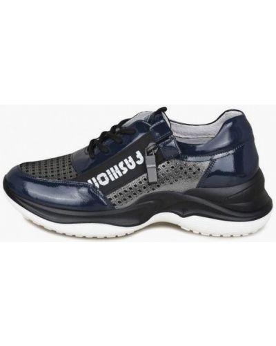 Лаковые синие кожаные кроссовки Kari