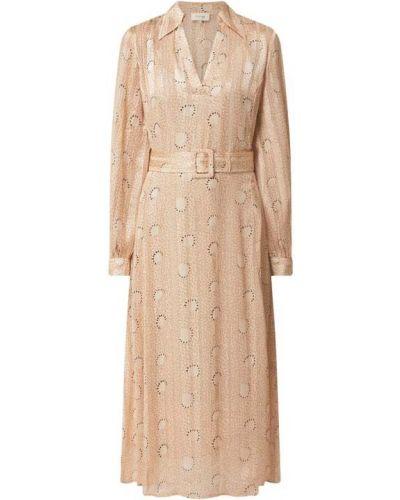 Beżowa sukienka midi rozkloszowana z paskiem Levete Room