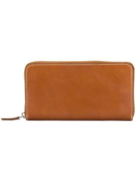 Кожаный кошелек прямоугольный с карманами на молнии Holland & Holland