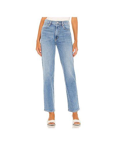 Хлопковые прямые синие прямые джинсы на молнии Slvrlake