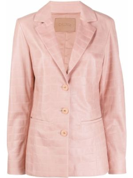 Розовый приталенный кожаный пиджак Drome