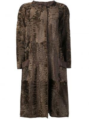 Коричневое пальто из овчины с карманами Liska