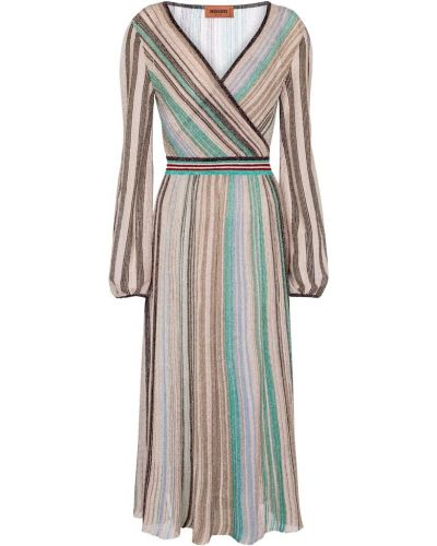 Шелковое вязаное платье миди в полоску Missoni