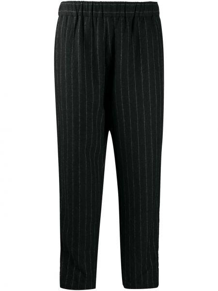 Шерстяные черные прямые укороченные брюки с поясом Casey Casey