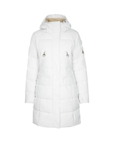 Прямая хлопковая теплая белая утепленная куртка Luhta