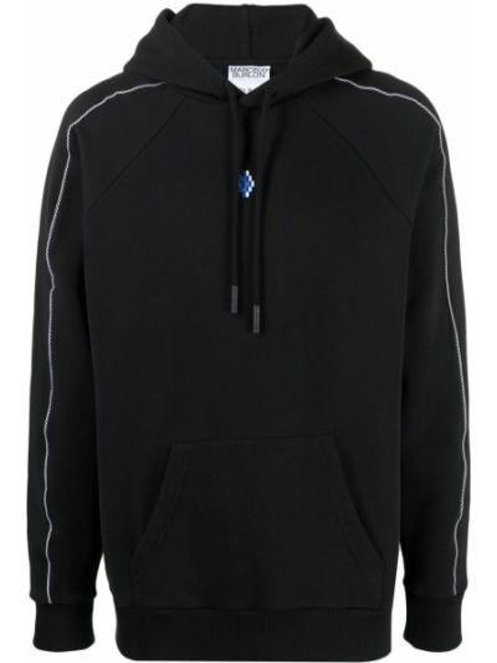 Czarna bluza długa z kapturem z haftem Marcelo Burlon County Of Milan