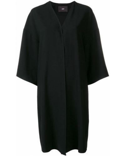 Однобортное черное пальто с капюшоном Steffen Schraut