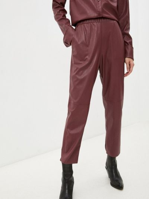 Кожаные брюки - бордовые Max&co