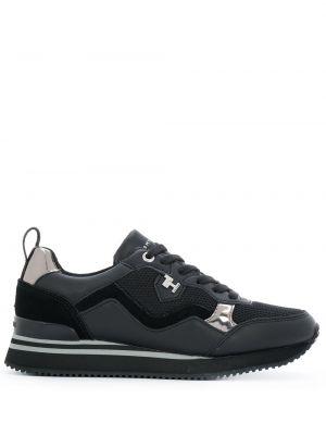 Кожаные черные кроссовки на шнуровке Tommy Hilfiger