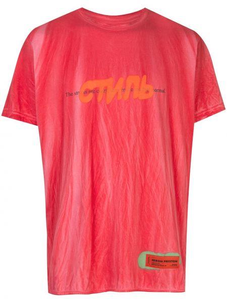 Koszula krótkie z krótkim rękawem prosto z nadrukiem Heron Preston