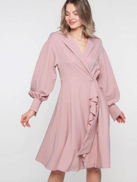Платье розовое с запахом Лимонти