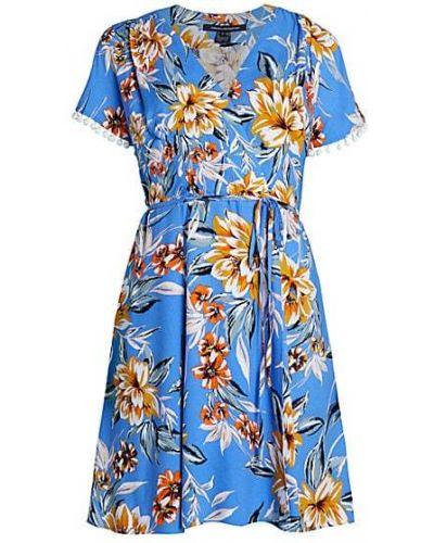 Свободное синее платье в цветочный принт French Connection