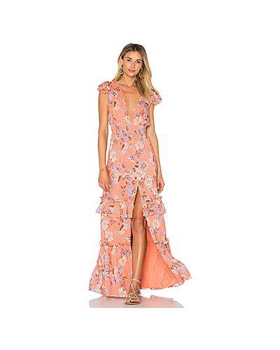 Платье мини вязаное с цветочным принтом с V-образным вырезом Ale By Alessandra