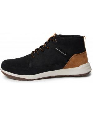 Спортивные кожаные черные кожаные ботинки на шнуровке Caterpillar