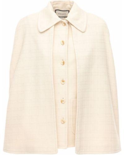Biała narzutka wełniana Gucci