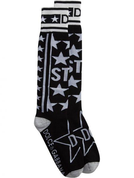 Czarne skarpety bawełniane z printem Dolce And Gabbana