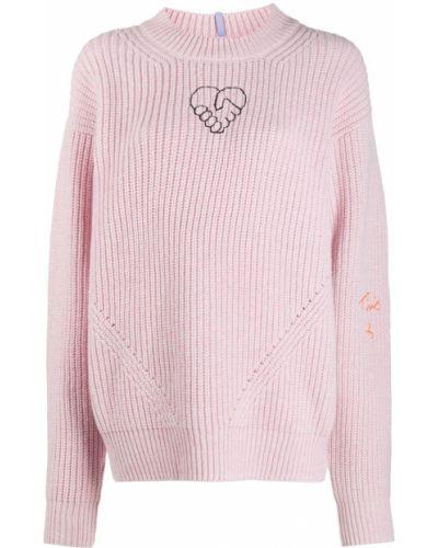 Шерстяной прямой розовый джемпер с вышивкой Mcq Alexander Mcqueen