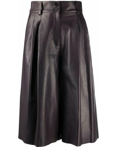 Skórzany pofałdowany brązowy spodnie culotte z kieszeniami Dolce And Gabbana