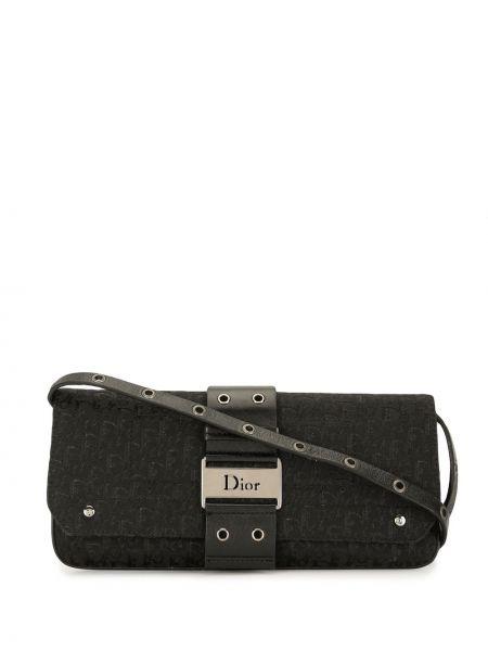 Кожаная черная сумка на плечо винтажная Christian Dior
