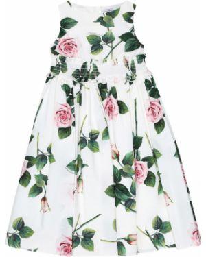 Sukienka biały z kwiatowym nadrukiem Dolce & Gabbana Kids