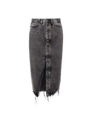 Серая хлопковая юбка миди 3x1