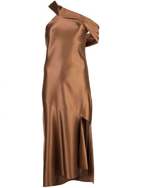 Платье миди с открытыми плечами с рукавами Cushnie