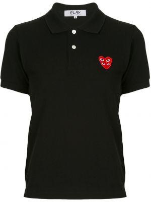 Bawełna czarny koszula z krótkim rękawem z kołnierzem z haftem Comme Des Garcons Play